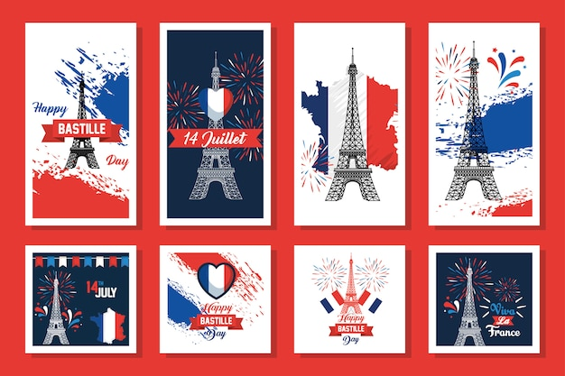 Bundle of happy bastille day and icons Premium Vector
