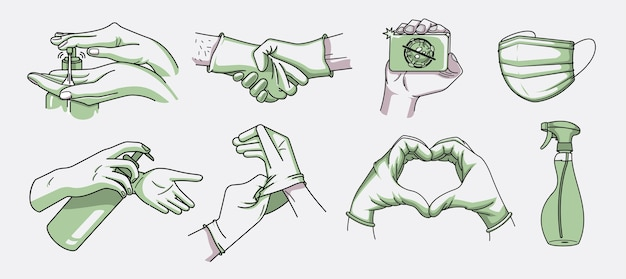 Bundle of  illustrations for hygiene and infection prevention in the doodle style.wash hand, disinfectant, and medical mask Premium Vector