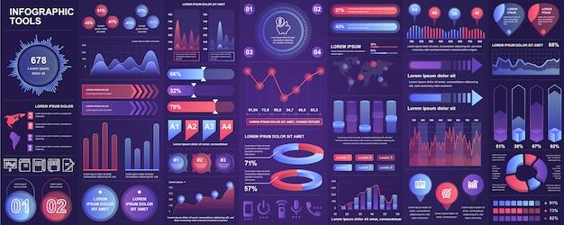 チャート、図、ワークフロー、フローチャート、タイムライン、オンライン統計、マーケティングアイコン要素テンプレートとインフォグラフィックui、ux、キット要素をバンドルします。インフォグラフィックセット。 Premiumベクター