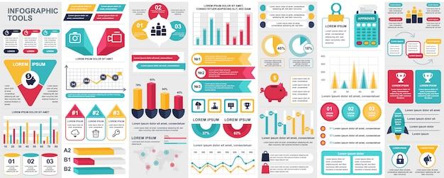 Bundle infographic ui, ux, kit elements with charts, diagrams, workflow, flowchart, timeline, online