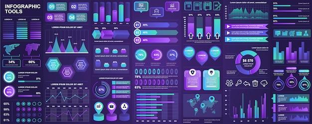 Bundle infographic ui, ux, kit elements with charts, diagrams, workflow, flowchart, timeline, online statistics, marketing icons elements  template.  infographics set. Premium Vector