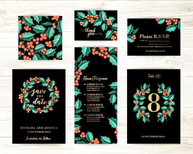 Bundle invitation design with mistletoe. collection of greeting cards. Free Vector
