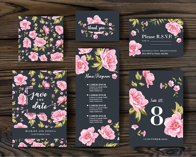 Bundle invitation design with peonies. collection of greeting cards. Free Vector