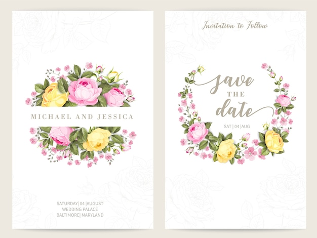 バラとバンドル招待状デザイン。グリーティングカードのコレクション。 無料ベクター