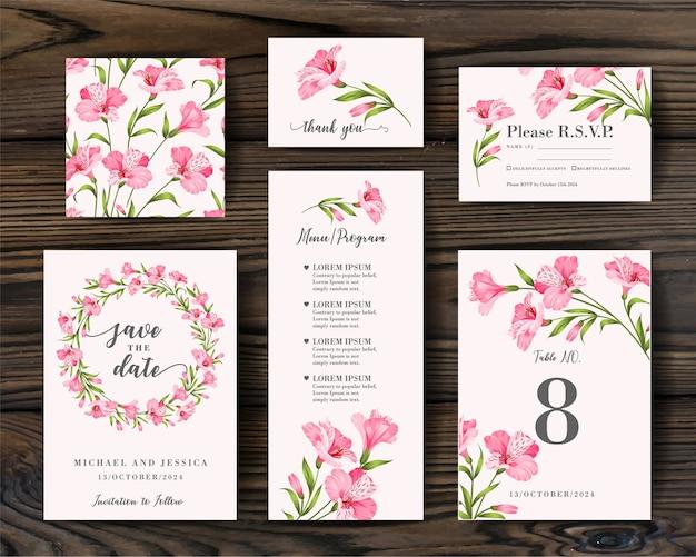 熱帯の花と招待状のデザインをバンドルします。グリーティングカードのコレクション。 無料ベクター