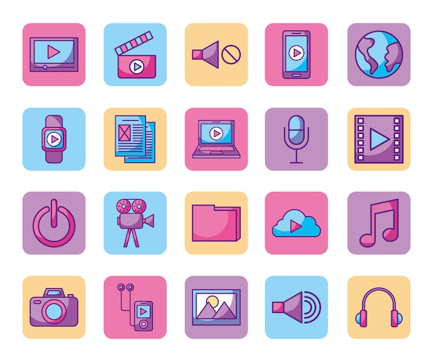Bundle of media player icons Free Vector