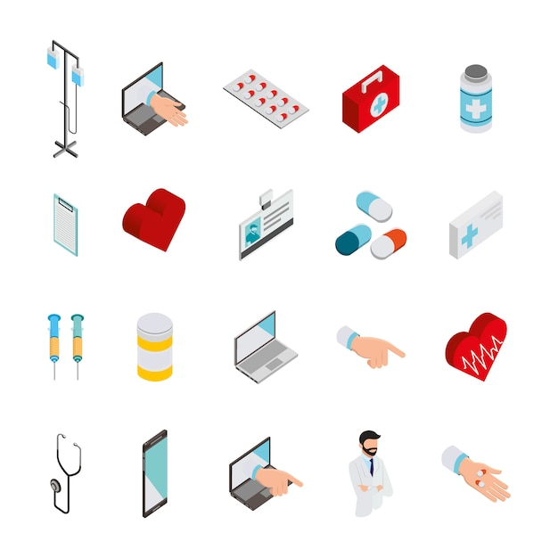 Bundle of medical healthcare icons Free Vector