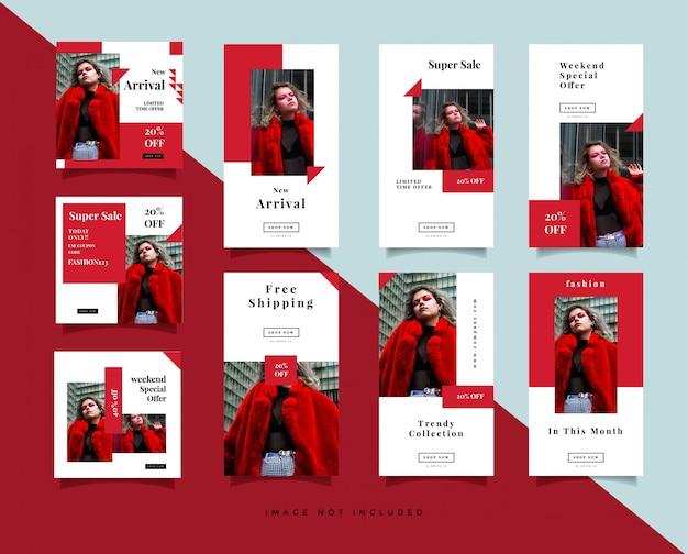 번들 미니멀리스트 소셜 미디어 게시물 및 인스 타 그램 이야기 디자인 템플릿 프리미엄 벡터