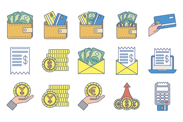 Bundle of money exchange icons Free Vector