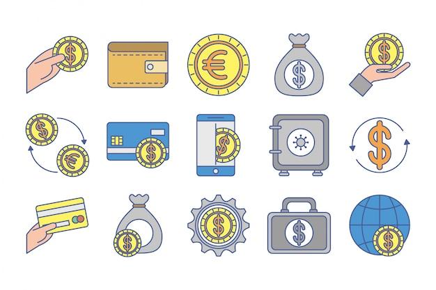 Bundle of money exchange icons Free Vector