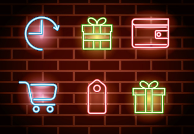 Bundle of neon lights icons Free Vector