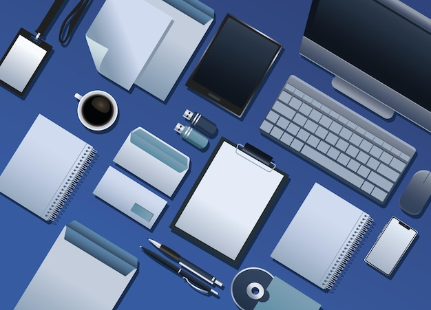 青い背景イラストのブランド要素パターンのバンドル Premiumベクター