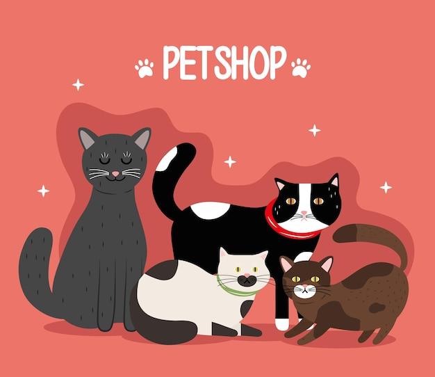 고양이 Differents 색상 마스코트 및 글자 번들 프리미엄 벡터
