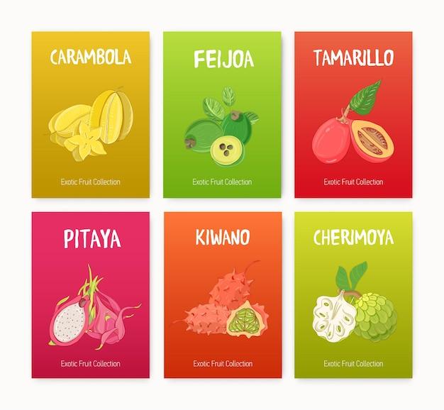 Пачка красочных иллюстраций с вкусными спелыми сочными экзотическими тропическими фруктами, целыми и нарезанными дольками Premium векторы
