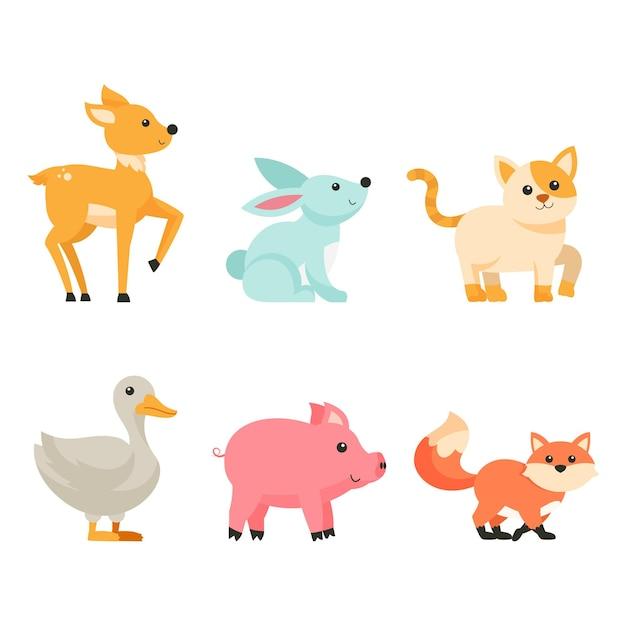 흰색 배경에 귀여운 만화 동물 산책의 번들, 고립 된 문자 평면 사랑스러운 동물 그림 개념 무료 벡터