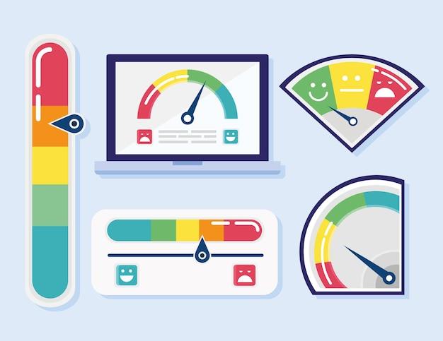 5 개의 고객 만족 세트 아이콘 및 태블릿 그림 번들 프리미엄 벡터