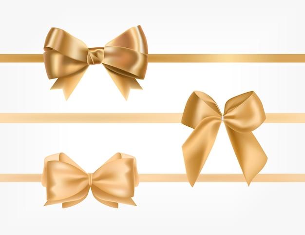 Связка золотых атласных лент, украшенных бантами Premium векторы