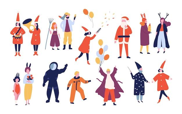 休日の仮面舞踏会、休日のカーニバル、白い背景で隔離のクリスマスパーティーのためのさまざまなお祝いの衣装に身を包んだ幸せな男性と女性のバンドル。フラット漫画スタイルのイラスト。 Premiumベクター