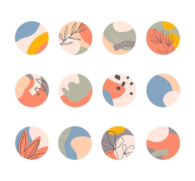인스 타 하이라이트 번들, 손으로 그린 유기적 모양의 현대적인 레이아웃, 추상적 인 배경, 소셜 미디어 마케팅을위한 트렌디 한 디자인. 프리미엄 벡터