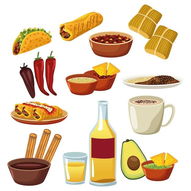 メキシコ料理のメニューのバンドルは、アイコンを設定します。 Premiumベクター