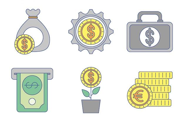 Набор иконок обмена денег Бесплатные векторы