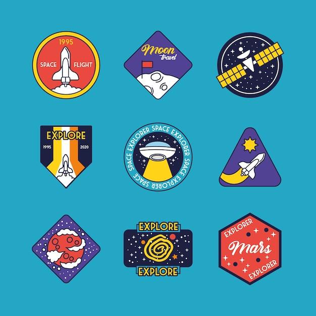 Связка из девяти космических значков, линия и иллюстрация значков стиля заливки Premium векторы