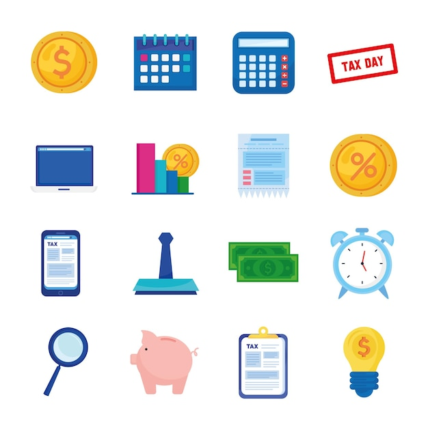 Набор из шестнадцати налоговых дней набор иконок иллюстрации Premium векторы