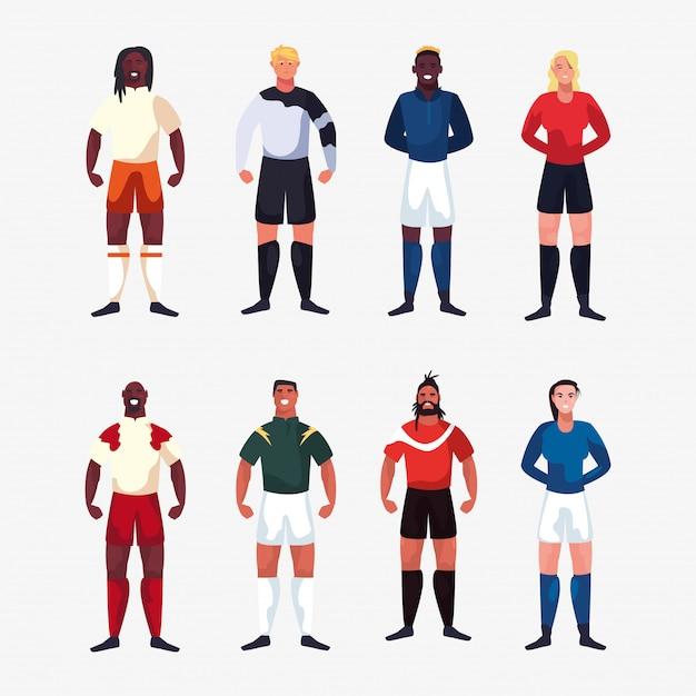 Пачка футболистов мужчин, стоящих Premium векторы