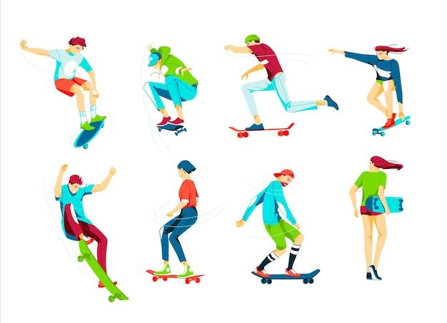スケートボードに乗っている10代の少年と少女またはスケートボーダーの束。 Premiumベクター