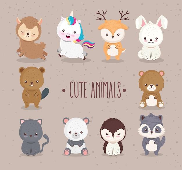 10匹のかわいい動物の束は、アイコンとレタリングのイラストデザインを設定します Premiumベクター