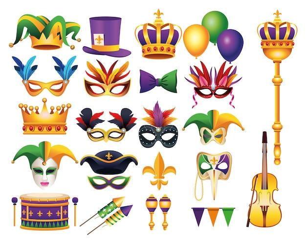 Набор из двадцати двух карнавал марди гра набор иконок иллюстрации Premium векторы