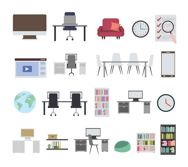 Bundle of office equipment icons Free Vector