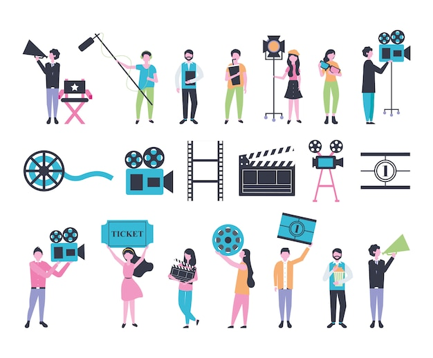 Bundle of people and cinema entertainment icons Free Vector