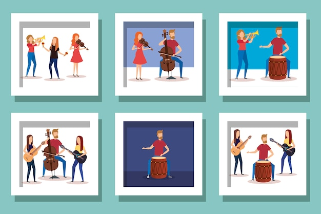 Bundle of people with instruments musical vector illustration design Premium Vector