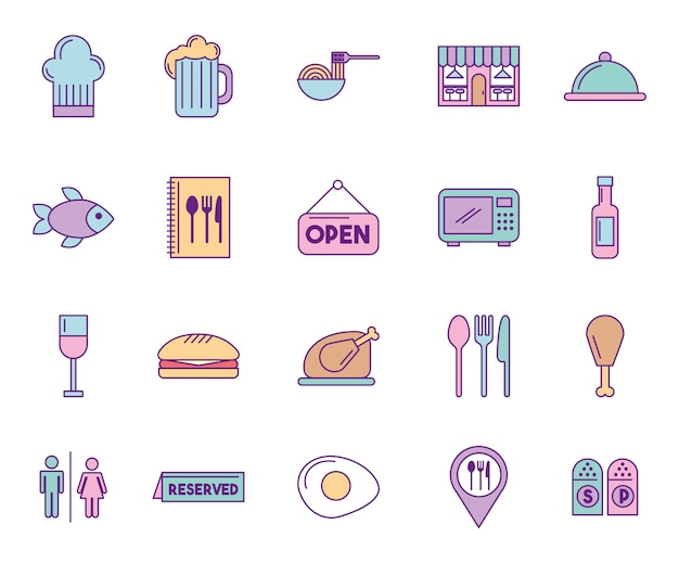 Bundle of restaurant service set icons Free Vector