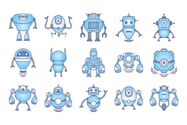 Bundle of robots cyborg set icons Free Vector