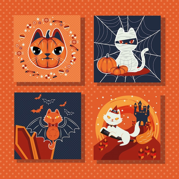 Bundle of scenes with cat disguised characters Free Vector