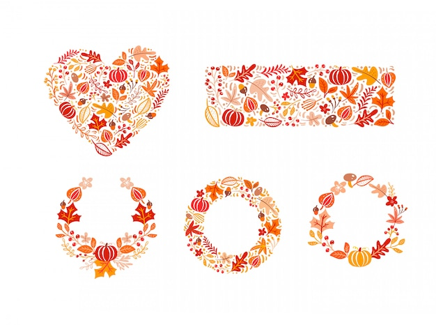 Bundle set of autumn elements made in heart, rectangle shape and wreath Premium Vector