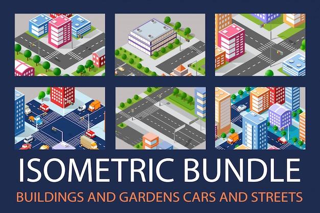 Bundle set infrastructure Premium Vector