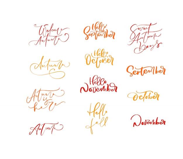 Bundle set of orange  lettering calligraphy autumn phrases Premium Vector