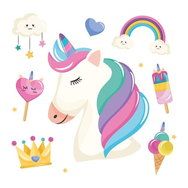 Bundle of seven unicorn set icons Premium Vector