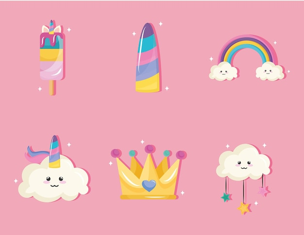 Bundle of six unicorn set icons Premium Vector