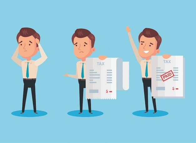 Bundle of tax day paid with businessmen characters Premium Vector