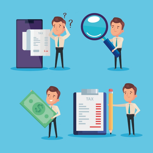 Bundle of tax day paid with businessmen and elements Premium Vector