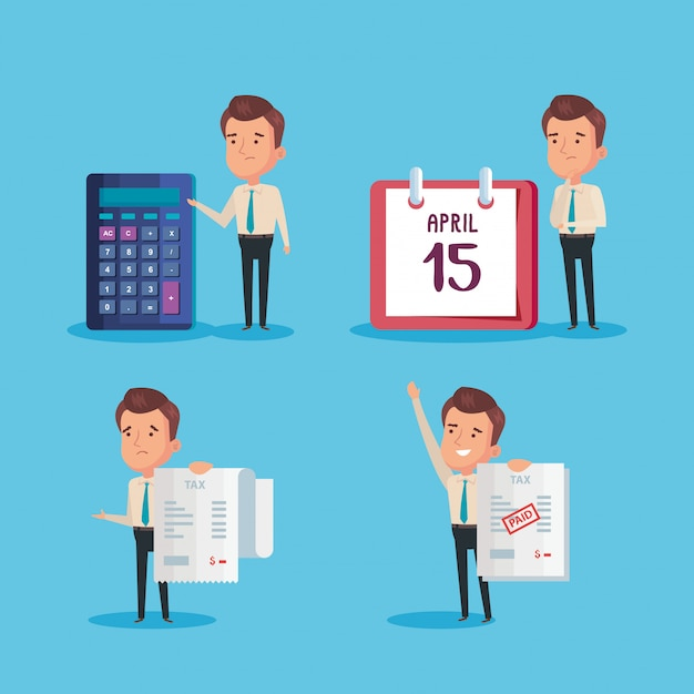 Bundle of tax day paid with businessmen Premium Vector