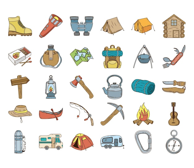 Bundle of thirty camping set line and fill icons Premium Vector