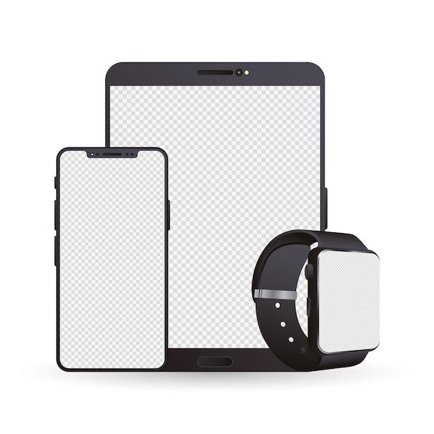 Bundle of three mockup electronic devices Premium Vector