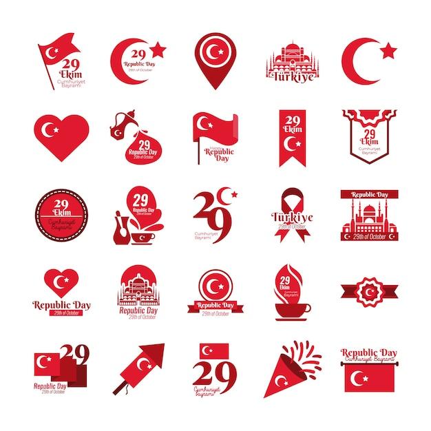 Bundle of twenty five set cumhuriyet bayrami flat style icons vector illustration design Premium Vector