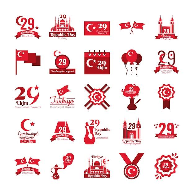 Bundle of twenty five set cumhuriyet bayrami flat style vector illustration design Premium Vector