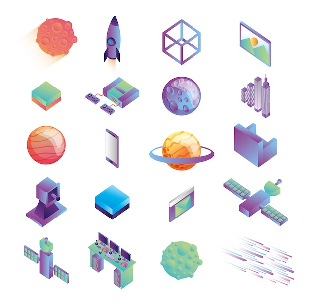 Bundle of virtual reality technology icons Free Vector